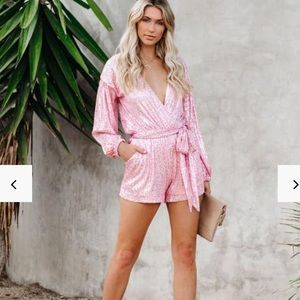 VICI Eye Candy Pink Sequin Pocketed Romper